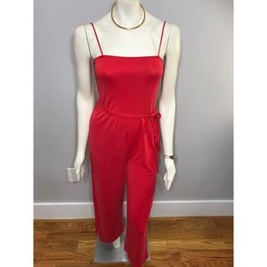 Topshop  Red Square Neck  Culotte Jumpsuit Medium